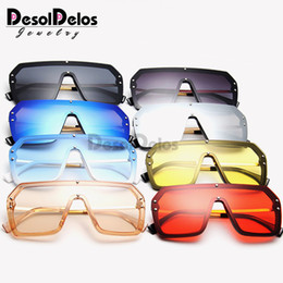 large square sunglasses mirror NZ - One Piece Sunglasses Square Men Half Metal 2019 Summer Style Oversized Sun Glasses for Women Large Candy Colors Sunglasses