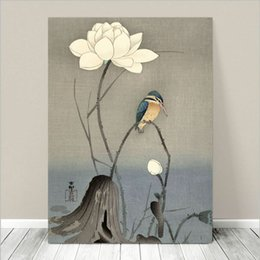$enCountryForm.capitalKeyWord UK - Beautiful Japanese Bird Kingfisher & Lotus Flower Home Wall Art Handpainted &HD Print Oil Painting On Canvas Wall Art Canvas Pictures 190826