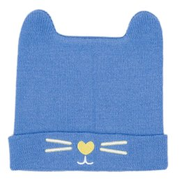 $enCountryForm.capitalKeyWord NZ - Newborn Infant Baby Winter Ribbed Knitted Cuffed Hat Solid Candy Color Cute Bear Ears Beanie Cap Meow Cat Embroidered Ear Warmer
