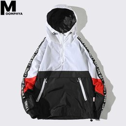 streetwear jackets NZ - Moomphya 2018 New Hooded Jackets Hip Hop Streetwear Patchwork Color Block Pullover Jacket Fashion Tracksuit Casual Coat Men SH190903