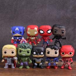 Dc Superman Figure Australia - Marvel Dc Super Heroes Figures Toys 9pcs set Captain America Iron Man Spiderman Black Panther Thor Hulk Batman Superman Flash Y19051804
