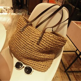 $enCountryForm.capitalKeyWord Australia - 1Women Handbag Summer Beach Bag Rattan Woven Handmade Knitted Straw Large Capacity Totes Leather Women Shoulder Bag Bohemia New