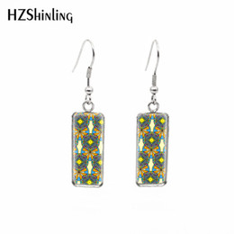 $enCountryForm.capitalKeyWord Australia - 2019 New arrival Mandala Patterns Rectangular Earring Silver Glass Dome Jewelry Life Flowers Fish Hook Earring