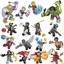Hulk Blocks Sets Australia - Marvel building blocks Sets 16pcs lot Avengers Infinity War Minifig Superhero Thor Hulk Captain America Figures Building Blocks Toys