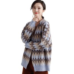 Soft Loose Knit Sweater UK - High Quality Women V-Neck Loose Sweater Casual Long Sleeve Soft Cardigans Spring Autumn Argyle Knitted Outerwear