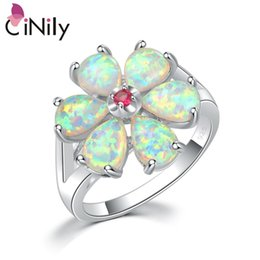 $enCountryForm.capitalKeyWord NZ - Cinily White Fire Opal Rings With Stone Silver Plated Gardenia Flower Flora Plant Ring Natrual Summer Jewelry Gifts Girls Women J190625