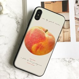 peach iphone NZ - Capa Luxury Peach Art Phone Case for iPhone 11 Pro Xs Max Xr 8 7 6s Plus 5 SE Case Soft Black TPU Silicone Cover.