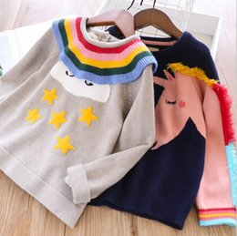 $enCountryForm.capitalKeyWord Australia - Girls rainbow falbala lapel stars clouds sweater kids colorful tassel unicorn knitted princess pullover fall new children cartoon jumperF859