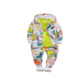 $enCountryForm.capitalKeyWord Australia - New Fashion Baby Clothes Autumn Boy Girl Jacket T Shirt Pants 3pcs sets Toddler Dinosaur Print Clothing Kids Casual Sport Suits