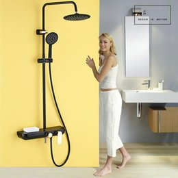 Contemporary Metal Wall Australia - Matte Black Shower Mixer Set Wall Mounted Outdoor Shower Faucet Single Handle Rainfall Bath Shower Complete Set with Handshower