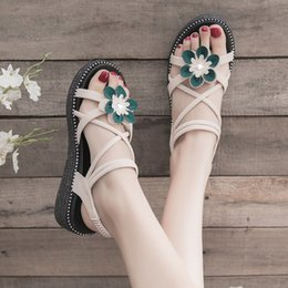 $enCountryForm.capitalKeyWord Australia - Fairy flower sandals for women summer 2019 new online red sponge cake platform word with wedge heel high-heeled women's shoes