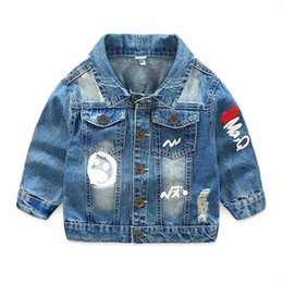 baby girl denim jackets UK - Denim Jackets For Boy Girl Autumn Children's Clothing Outerwear Causal Windbreaker Baby Kids Jeans Coats