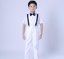 $enCountryForm.capitalKeyWord Australia - 2019 New Spring Baby Boys Clothes Sets Gentleman Blue Stripe Formal Suits Boy Clothing Sets Wedding Suits Outfits(Pants+Shirt+Strap+Tie)