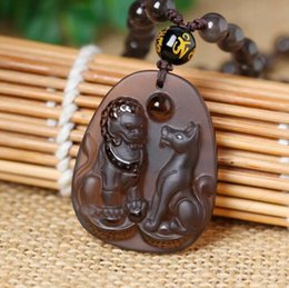 Security Pendant Australia - Natural ice kinds of obsidian pendant Lucky lion   dog mascot amulet security an