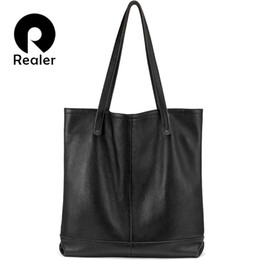 Discount minimalist handbags - REALER women bag genuine leather bags women's large tote bag female travel black handbag ladies Minimalist big shou