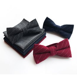 pockets bow wedding dress 2019 - Fashion British Cotton Men's Bow Tie Wedding Dress Suit Bow Tie Pocket Towel Sets Business Casual Men's Set Ac
