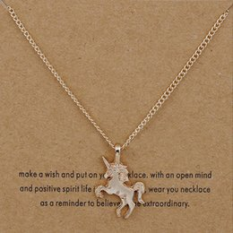 classic alloy NZ - New Fashion NO Dogeared LOGO New Gold-color Life Magical Unicorn Horse Alloy Clavicle Chain Pendant Chocker Necklace Jewelry Gift Whosales