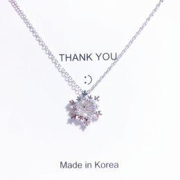 Horn Chains Australia - Large snowflake zircon necklace female simple clavicle chain necklace sweater chain pendant tide kendra scott