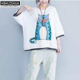 $enCountryForm.capitalKeyWord Australia - 5xl 6xl 7xl Women Plus Size T-shirt Half Sleeve Loose Summer Cotton Cartoon Printed T Shirt Tops Camiseta Mujer Black White 1426 Y19060601