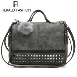 Two Ball Hair Australia - Herald Fashion Rivet Women Tote Bag Leather Female Handbags With Hair Ball Capacity Lady's Shoulder Bag Vintage Motorcycle Bag Y19061204