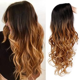 Discount black blonde ombre hair - Long Ombre Brown Wavy Wig Blonde Cosplay Synthetic Wigs For Black White Woman Glueless Hair Freeshipping synthetic wig