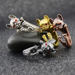 $enCountryForm.capitalKeyWord Australia - Vintage Silver Black Cute French Bulldog Dog Ring Anel Retro Boho Animal Metal Rings For Women Men Jewellery Gift For Pet Lovers