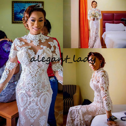 Wholesale button strap for sale – dress High Neck Long Sleeve Mermaid Wedding Dresses Luxury Lace Applique nude lining African Bride Party Dancing Wedding Gown