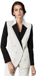 Women pants suits for Weddings online shopping - White Office Uniform Women Female Business Suit Women Pant Suits Piece Tuxedos Suits for wedding Outfit Blazer Custom Made