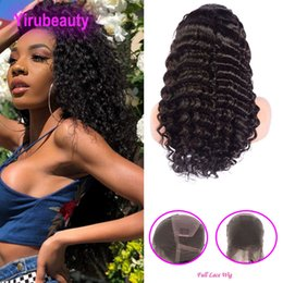 Deep Curly Indian Lace Wig Australia - Indian Unprocessed Human Hair Pre Plucked Full Lace Wigs With Baby Hair 8-36inch Deep Wave Curly Virgin Hair Products Deep Curly