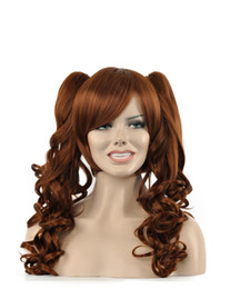 China Beauty Women Long Brown Curly Wavy Hair Oblique Bangs Double Ponytail Kanekalon Heat Resistant Cosplay Party Hair Full Wig Wig suppliers