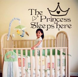 Bathroom Wall Sticker Quotes Australia - The Princess Sleep Here Vinyl Stickers For Kids Room Wall Decals Home Decor Wall Art Quote Bedroom Wall paper