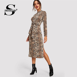e03761de58 Mock dresses online shopping - Sheinside Mock Neck Snake Print Elegant  Office Ladies Midi Dresses Women