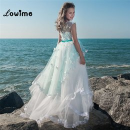 $enCountryForm.capitalKeyWord NZ - Princess Pure White Ball Gown Flower Girls' Dress for Wedding Party High Neck Kid Holy Communion Gown Tulle Baptism Gowns