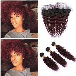 $enCountryForm.capitalKeyWord Australia - Wine Red Deep Wave Virgin Hair Wefts With Frontal Pieces Two Tone 1B 99J Color Hair Weaves With Ear To Ear Frontal 13x4