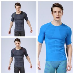 Soft men ShortS online shopping - Men s short sleeved sports underwear body sculpting clothing soft pressure comfortable breathable quick drying T shirt colors ZZA695