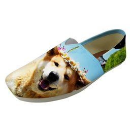 canvas dog shoes UK - Vogue New Spring Summer 2019 Flats Shoes Akita Dog Print Shoes Ladies Loafers Comfortable Casual Female Lazy Sip on Flat