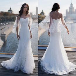 sweetheart wrap Australia - Amazing Mermaid Lace Appliqued Wedding Dresses With Wrap Sweetheart Neck Beaded Bridal Gowns Corset Back Sweep Train Tulle robes de mariée