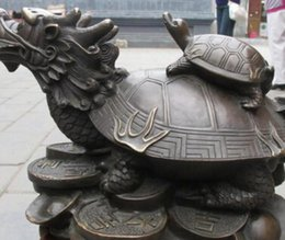 Ship Carvings Australia - COPPER STATUE shipping Chinese bronze carve two Dragon Turtle tortoise wealth god Lucky Fengshui statue