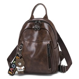 Brown Bear Backpack Australia - fashion lady backpack decorated with bear doll high quality double shoulder bag black and brown school bag for women
