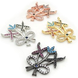 charms loops Australia - 26*22*2mm Micro Pave CZ Of Mixing Colors Bowknot Plant Charms Of Double Loops Fit For Men And Women Making Necklaces Jewelry