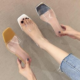 white rough crystal Australia - Goddess2019 Vamp Square One Word Type Rough Slipper Transparent Crystal With Woman Sandals