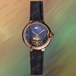 $enCountryForm.capitalKeyWord Australia - Blue balloon luxury mens watches hollow dial WSBB0015 W69009Z3 moon phase automatic movement leather strap 42 mm mechanical watch A9-1