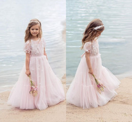 Gold flowers online shopping - Blush Pink Little Flower Girls Dress with Beaded Applique Kids Party Gown with Short Sleeve Birthday Communion Dresses