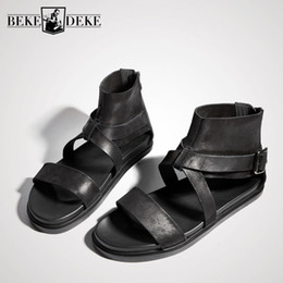 Open Toe Genuine Leather Sandals Australia - 2019 England Summer Open Toe Sandals Men High-Top Genuine Leather Sandals Gladiator Breathable Zip Casual Beach Slippers Slides
