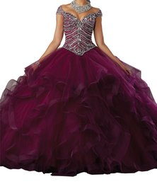 $enCountryForm.capitalKeyWord Australia - Women Quinceanera Dresses Cap Sleeves Off the Shoulder Vneck Crystal Ball Gowns For girls 15 16 Pageant Party Dresses Christmas Gifts New