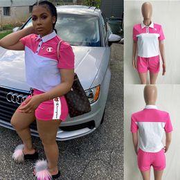 T Shirts Collar Wholesale NZ - Women Designer Champion Tracksuit Short Sleeve Turn-down Collar Button T Shirt + Shorts 2 Piece Set Brand Outfit Golf Sports Suit C52907