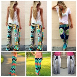 flared floral trousers Australia - Women High Waist Floral Pants Flare Wide Leg Long Pants Palazzo Trousers Pant Preppy Boho Bohemian Vintage Summer loose Pants LJJA2938