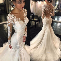 black n white wedding dresses 2021 - Amazing Lace Mermaid Wedding Dresses With Long Sleeve Applique Beaded Sequins Scoop See Though Back Wedding Gowns Bridal Dress Vestidos De N