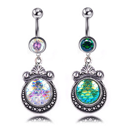 Bell Patterns Australia - Cute Crystal Scale Pattern Body Jewelry Stainless Steel Rhinestone Navel & Bell Button Piercing Dangle Rings for Women Gift