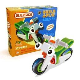 Kids Train Blocks Australia - Intellectual Development Engineering Vehicle Assembling Building Blocks DIY Assembling Small Toys Motorbycle for Brain Training Kids